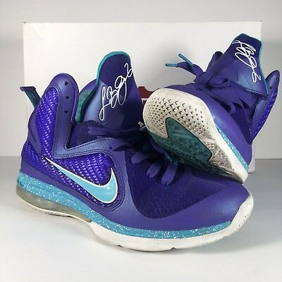 separation shoes 0afd6 34f77 Nike LEBRON IX 9 Summit Lake Hornets Shoes 469764-500 Purple Turquoise Blue Sz  9
