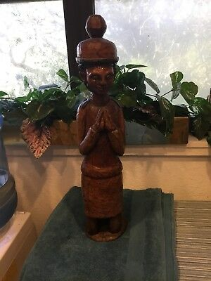 Vintage Hand Carved Wood Statue Sclupture Indian Woman Egyptian 21""
