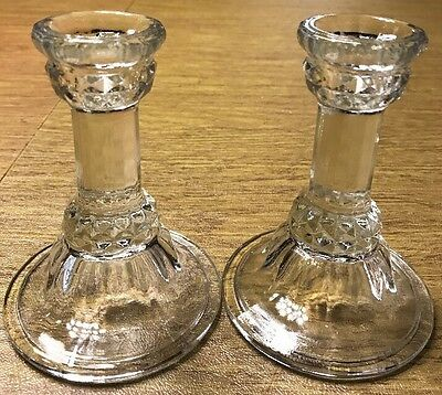 Set Of 2 Vintage Clear Molded Pressed Glass Taper Candle Sticks Holders  4 3/4""