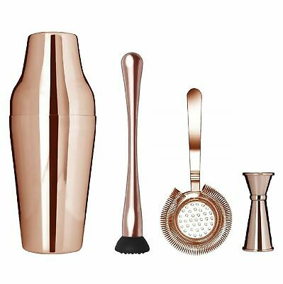 NEW UBER ZEO PARISIENNE COPPER COCKTAIL SHAKER SET 650ml Maker Mixer Mixing Kit