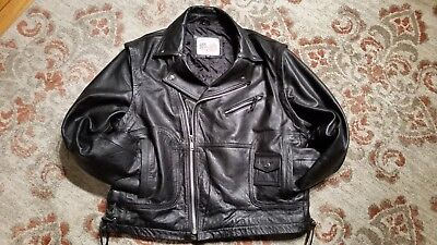 7f60220bf15 Excelled Ny Black Leather Classic Side Lace Biker Motorcycle Jacket Men s  44 Reg