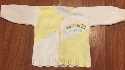Vintage Baby Boy Girl Yellow White Trains Cardigan Button Sweater Newborn 0-3 M