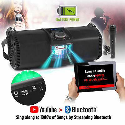 Portable Bluetooth Karaoke Machine Party Speaker with Microphone and Disco Light