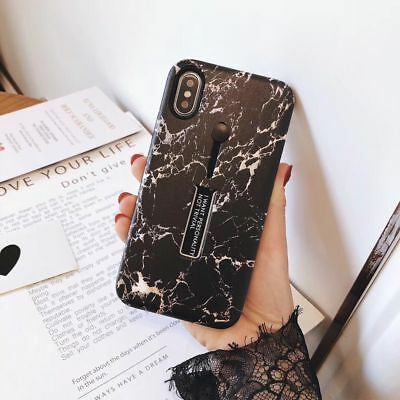 Marble Ring Holder Kickstand Hard Case Cover Skin For iPhone XS XR XS Max X
