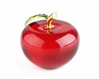 Red 3D Crystal Paperweight Glaze Apple Figurine Glass Wedding Decoration Gifts