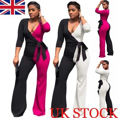 Womens V Neck Wied Leg Jumpsuit Ladies 3/4 Sleeve Evening Party Playsuit Romper