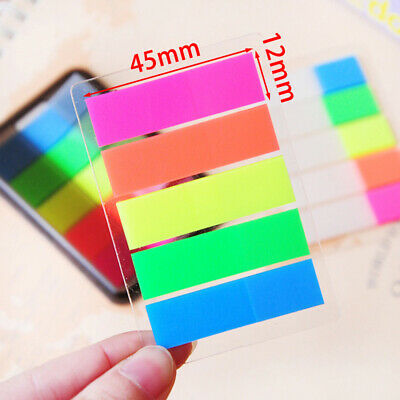 100X Fluorescence Sticky Notes Memo Flags Bookmark Marker Tab Sticker Office