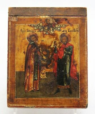 antique 18th C orthodox Icon, 2 Saints, text, scroll, Saint Peter & Paul (?)