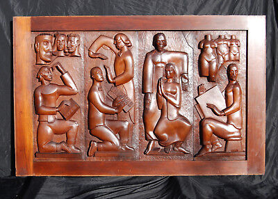 Large vintage carved walnut panel FOUR HUMANITIES mid century modern Eames era
