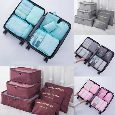 8pcs Packing Cube Pouch Suitcase Clothes Storage Bags Travel Luggage Organizer
