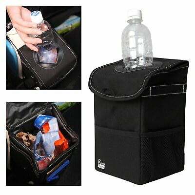 Car Trash Can Storage Pockets Space Saving Leakproof Bag Bin Organizer with Lid