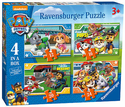 06936 Ravensburger Paw Patrol Jigsaw Puzzle 4 in a Box Childrens Toy 72pc Age 3+