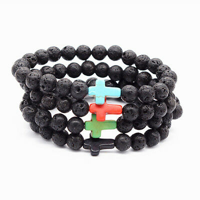 Charm Men Black Lava Rock Stone Turquoise Cross Beaded Elastic Bracelets Jewelry