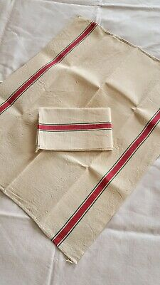 Pair Linen Towels Stiff Thick Fabric Red Stripe Vintag French UNUSED Fleur Bleue