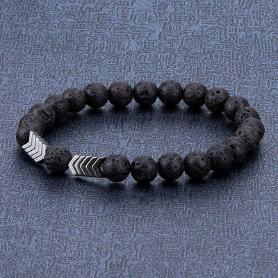 New Fashion Lava Rock Stone Bead Hametite Arrow  Essential Oil Diffuser Bracelet