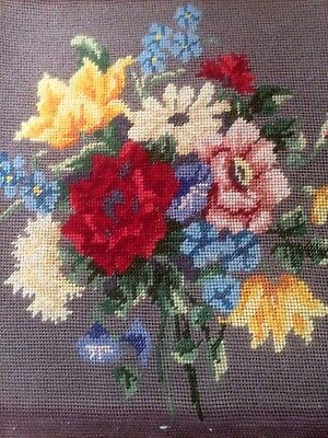 Vintage Woolwork Tapestry Needlepoint Embroidered Picture Panel Pretty Florals