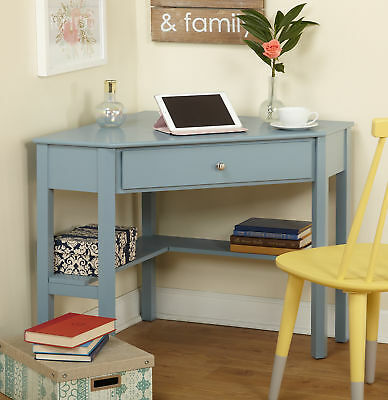 Corner Computer Writing Desk Small Wood Antique Blue With Drawer Shelves Wooden