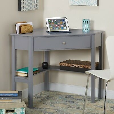 Corner Computer Writing Desk Small Wood Soft Gray With Drawers Shelves Wooden