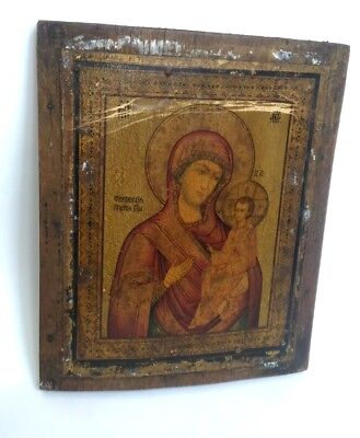 Antique Russian Orthodox Tikhvin icon of the Mother 19 th century