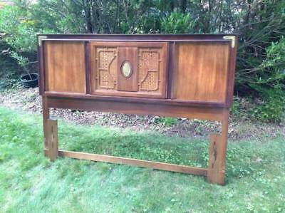 Vintage Chinese Asian Oriental Style Wood and Cane Queen Headboard Pickup only!!
