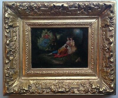 Antique oil painting 19th century The Swing Gallant Scene French school