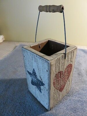 Vintage Wooden Bucket Box Pail Primitive Barn Wood Bail Handle Red/White/Blue