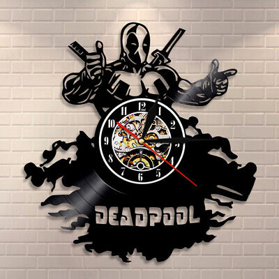 New Marvel Deadpool Clock Retro Vinyl Record Wall Clock Home Decor Collect Gift
