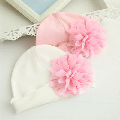 Newborn Baby Girls Pink Flower Cotton Soft Lovely Cute Baby Caps Hat for 0-1Year