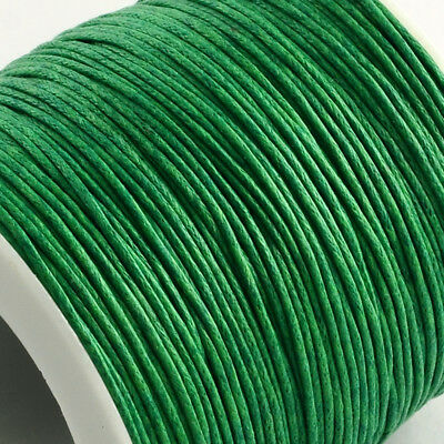 Waxed Cotton Cord Thread 1mm Bright green for bead stringing bracelet necklace