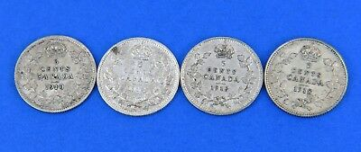 (4) Edward VII George V Silver Canadian 5 Cents Coin Lot 1910 1912 1913 1918