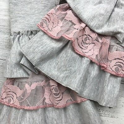 Girls Boutique Lace Ruffle Leggings Pants Fall Sz 4 5 6 7 8 Soft Icing Pink Grey