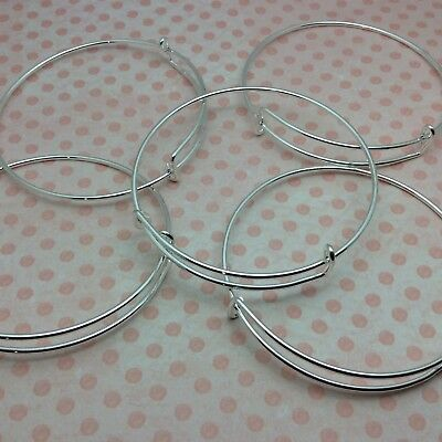10 x Silver Expandable Wire Bangle Blanks Charm Bracelet Jewellery 70mm diameter
