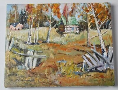 Log Cabin in the Woods Oil Painting on Canvas D Richards UNFRAMED Northwoods Art