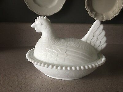 Vintage White Milk Glass Chicken Hen On Nest Covered Candy Dish (2)pc Lid & Bowl
