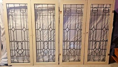 "2 Matching Pair Antique Leaded Glass Cabinet Doors Or Windows 46 1/2"" X 18"" each"