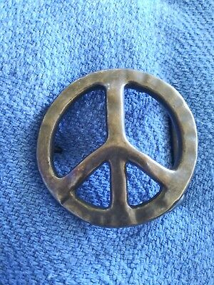 """Pewter Peace Sign Belt Buckle 2.5"""" Wide"""