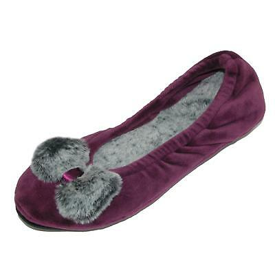 New Dearfoams Women's Velour Ballerina Slippers with Frosted Pile