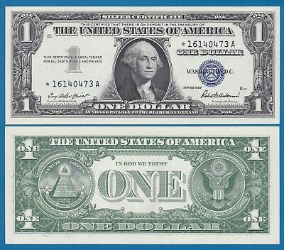 STAR Note United States $ 1 UNC 1957 Silver Certificate Blue seal P 419 Fr 1619*