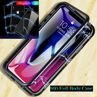 Magnetic Adsorption Metal Slim Tempered Glass Case Cover for iPhone XS Max XR X