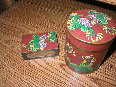 Vintage Cigarette And Match Holder Set Very Good Condition