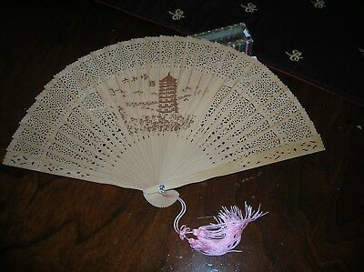 ESTATE Vintage Antique ASIAN Carved Pierced Wood Hand Fan in Box JAPAN? CHINA?