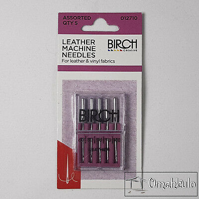 BIRCH - Leather Sewing Machine Needles - For Leather/Vinyl Fabrics - 5 Pieces