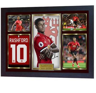 New Marcus Rashford autographed Manchester United photo printed signed Framed