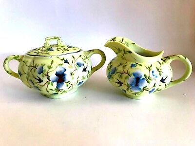 Antique Sugar Bowl w Lid & Creamer Light Yellow Floral Marked ES Signed Numbered