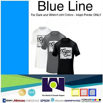 "Blue Line Dark Iron On Heat Transfer Paper for Inkjet 8.5""x11"" - 20 Sheets"