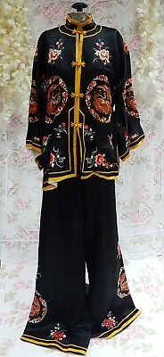 07055b52ff Vintage Chinese Silk Embroidered Dragon Pajama Pant Top Set Black Gold  1930s 20s