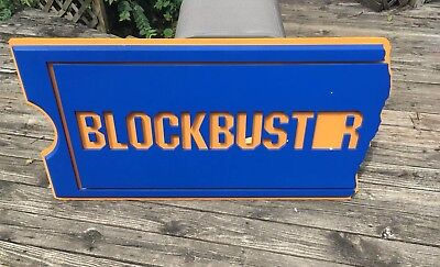 Large Blockbuster Video Ticket Shaped Store Display Sign 4 ft X 2 ft