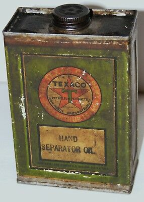 Vtg 1920/30s Texaco Solder Seamed Hand Separator Oil Tin Can Green Label 1/2 Qt.