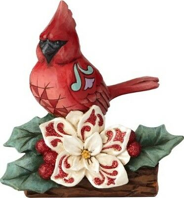 Jim Shore Heartwood Creek Stone Resin WINTER CARDINAL Figurine Red Bird Holly