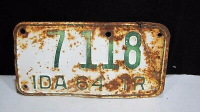 Vintage 1964 IDAHO Trailer License Plate #7118 RARE !